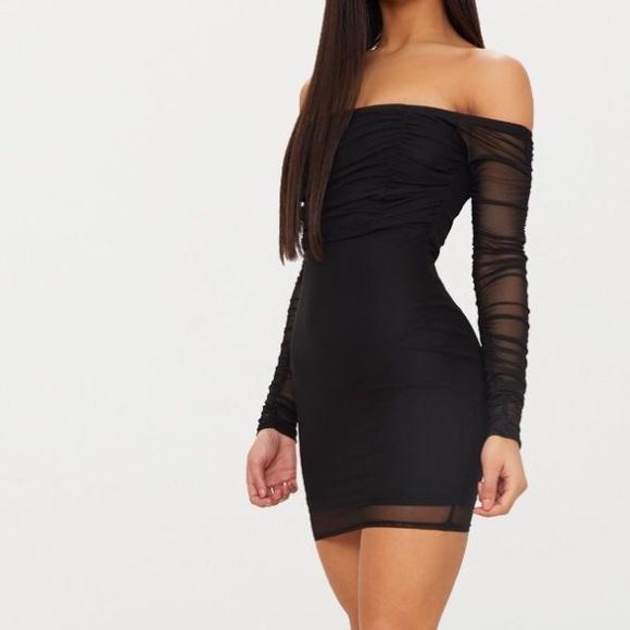 900567f293 Pretty little thing mesh Bardot bodycon dress. M 5b63ca5b74359b5f760563ec